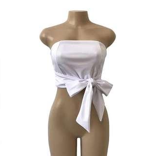 🚚 歐美白色綁帶抹胸