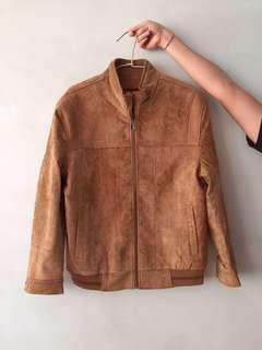 🚚 古著 vintage 復古 咖啡色/卡其色/駝色 麂皮大衣外套 全新