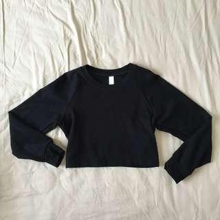 Authentic American Apparel Black Cropped Long Sleeve Jersey