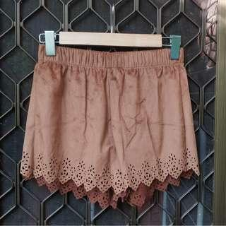 VALLEYGIRL Brown Suede Shorts Laser Cut Detail Scalloped Hem Scrunch Waist Camel