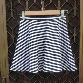 TOBI Skater Skirt Striped Mini Black White Fit And Flare Flippy Stelly Showpo Dotti Bardot