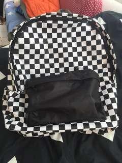 Oversized checkered backpack