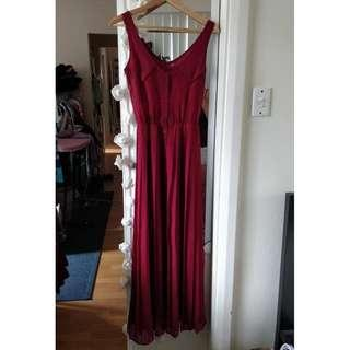 SHOWPO Sheer Dress Maroon Red Chiffon Maxi Pleated Skirt Split Princess Polly Showpo Beginning Boutique Sportsgirl Glassons Dotti