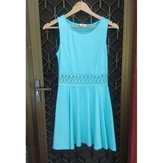 TOBI turquoise skater dress lace detail waist fit and flare green blue mini dotti bardot forever new