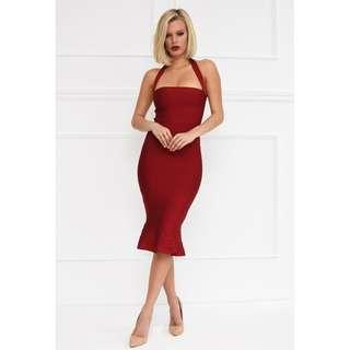 NOODZ BOUTIQUE Helen Dress Burgundy Bandage Midi Mermaid Fishtail Wine Red