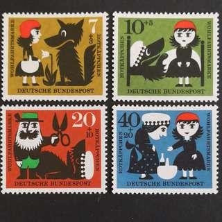 🚚 Germany 1960. Charity Stamps - Little Red Riding Hood complete stamp set