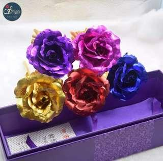 """1 Stalk 24K """"Gold Foil Plated"""" Rose w/ Box & """"LOVE"""" Stand 