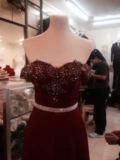 MAROON LONG GOWN FOR RENT