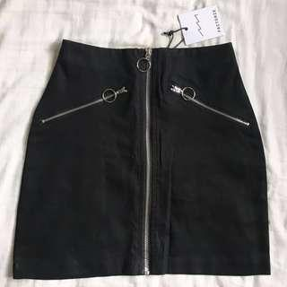Factorie Black Front Zip A Line Skirt