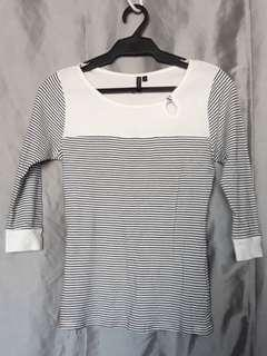 Topshop Striped White Top