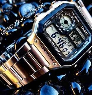 🚚 NEW🌟ARRIVAL in AVIATORS SERIES: 1-YEAR OFFICIAL WARRANTY CASIO 100M DIVER SPORTS WATCH : TOUGH STAINLESS STEEL Officially by GSHOCK GSTEEL JAPAN COMPANY : BEST for ROUGH USERS : AE-1200WHD-1A / GSHOCK / DW-5600BB-1 / DW-5600-1 / GSTEEL / WATCH