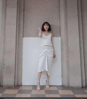 White drapery dress