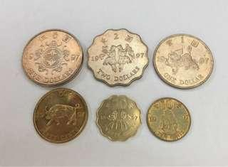 1997年 香港回歸紀念硬幣 5元 2元 1元 5毫 2毫 1毫 售$50買曬包平郵