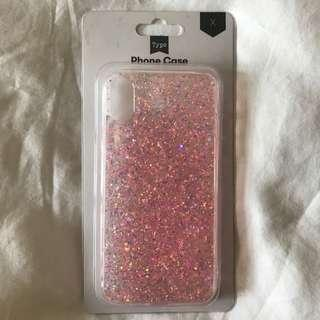 Typo Pink Glitter iPhone X Case #MFEB20
