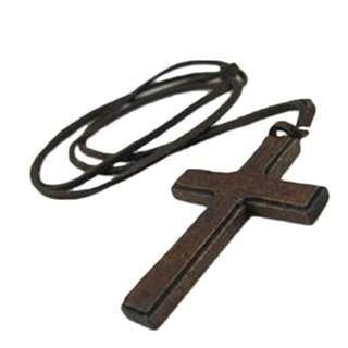 men Necklace 木製 十字架 項鍊 頸鏈 男女 Unisex Womens Ladies Wood Cross Pendants Casual Leather 71#