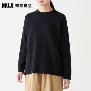 無印良品|女有機棉混雙面織圓領針織衫(黑色)