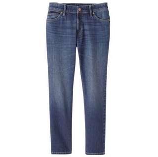 無印良品|女有機棉混彈性丹寧boy fit九分褲(靛藍25)
