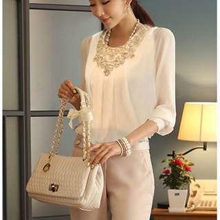 Women Top 長衫雪紡上衣 女衫 返工衫 White Ladies Smart Crochet Long Sleeve Shirt Chiffon Blouse S 8053