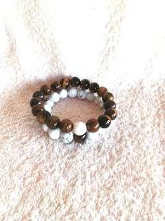 🚚 (20% Off) Natural Tiger Eyes + White Howlite Bracelets For Couples 天然的虎眼+白松手链
