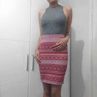 red aztec pencil skirt