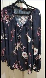 Estelle Navy floral top size 20 (never worn)
