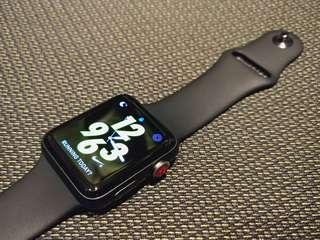 Apple watch series 3 LTE (GPS+Cellular) 42mm Nike+ Space Gray Aluminium Sport Band Black