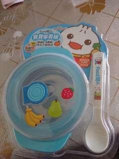 全新food超人寶寶學習餐碗 不銹鋼藍粉各一