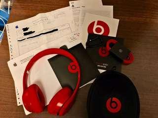 【二手極新只用數次】原廠 Beats Solo 2 有線 線控 耳罩式耳機 Apple 公司貨 有發票 收據