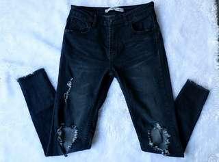 Acid Black Tattered Jeans