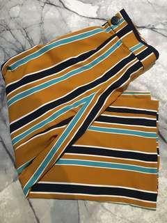 BRAND NEW Zara TRF Trafaluc Yellow Mustard Stripe Culottes Wide Leg Pants BNWT - Size S/M