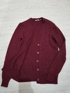 🚚 UNIQLO 棗紅色 毛線外搭小外套-S號