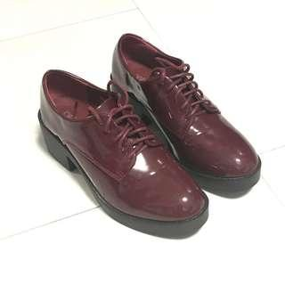 🚚 Betsy Platform Jelly Shoes Boots Red Maroon Heels Sandals