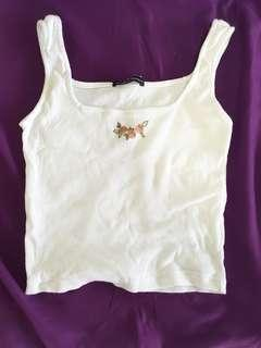 Brandy Melville Rose Embroidery Tank Top