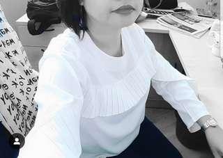 White oversized long sleeve blouse #MFEB20