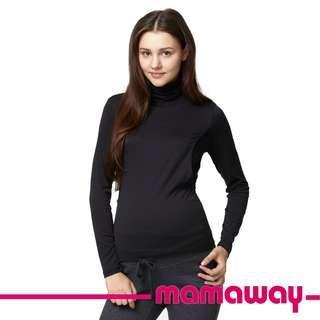 🚚 全新 媽媽餵 mamaway 超彈力絲柔高領哺乳衣 保暖高領孕哺衛生衣
