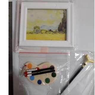 【全新*全部$15包平郵】1/12 Dollhouse Miniature Art Oil Painting Brush Palette 油畫藝術家畫筆板柺杖 迷你食玩果子食物品 非 Re-ment