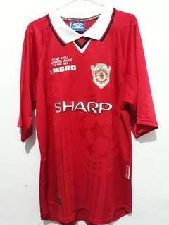 Jersey Retro Ori Manchester United (Champion League the final 1999 st.Camp Nou) Made in U.K size XL