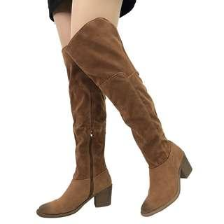 overknee boots with defects camel suede shoes US 7 女靴 長靴 有瑕疵 平賣 過膝靴 No.64