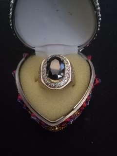 Black Sapphire gems with ring attached