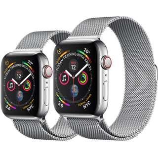 44mm 100%全新未開行貨 Apple Watch Series 4 GPS + 流動網絡44毫米不鏽鋼錶殼配鋼織手環