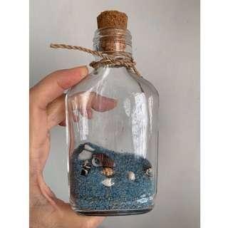 Nautical Blue Sand Seashells Glass Bottle