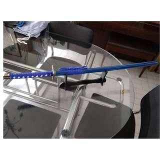 cosplay adult size katana ninja samurai wooden sword blade with sword stand blue version