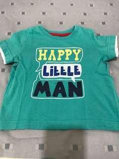 #MFEB20 Mothercare Green Tshirt HAPPY LITTLE MAN 9M