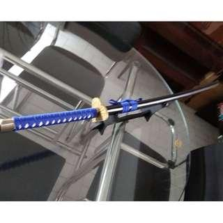 cosplay adult size katana ninja samurai wooden sword blade with sword stand blue and black version
