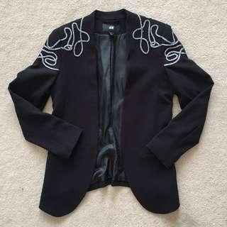 H&M Black Embellished Shoulder Jacket Blazer