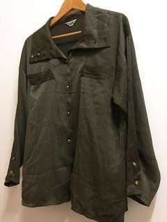 🚚 古著緞面墨綠長袖上衣