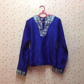 Blue songket blouse #MFEB20