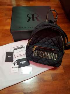 40d7f5bf1f92 Moschino Couture Quilted Black with Gold Studs Backpack Bag(not hermes