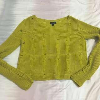 Topshop Ripped Slightly Cropped Sweater Top (mustard)