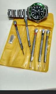 5pc Watch Screwdriver Set + Holder + Spare Tips